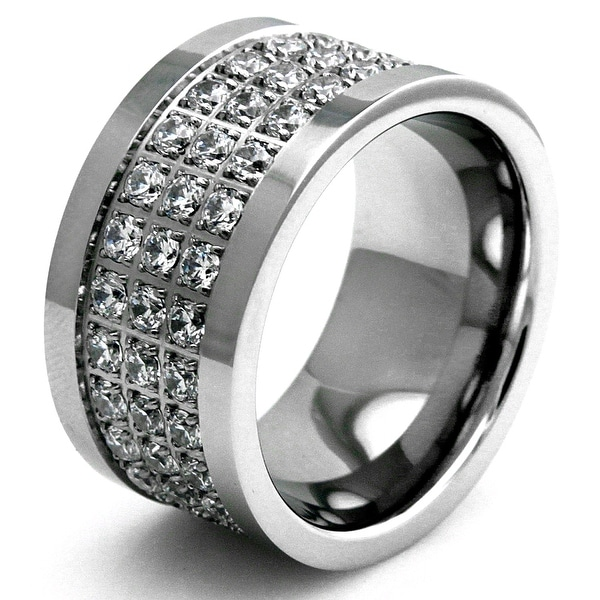 Stainless Steel Sparkling CZ Crusted Polished Edge Ring
