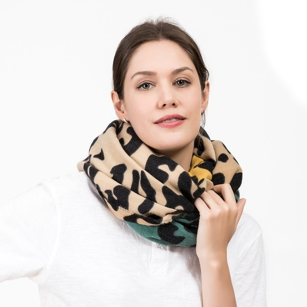 "Glitzhome 69""L Green Yellow and Beige Leopard Grain Scarf. Opens flyout."
