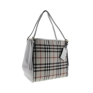 Burberry Womens Canterbury Leather Trim Horseferry Check Tote Handbag - stone/white - SMALL