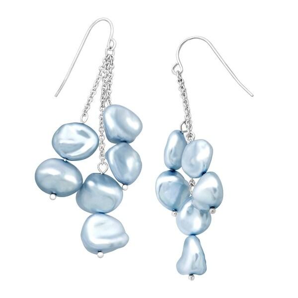 Honora Sky Blue Keshi Cultured Pearl Cascade Drop Earrings in Sterling Silver