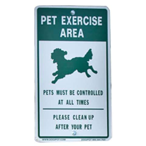 DOGIPOT Reflective Aluminum Dog Park Off-Leash Pet Sign - Green