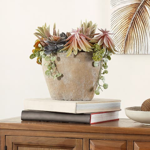 """SAFAVIEH Faux Succulent Potted Plant - 15.8"""" W x 9.5"""" L x 13"""" H"""