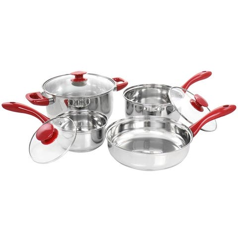 Gibson Home Crawson 7 Piece Stainless Steel Cookware Set in Chrome with Red Handles