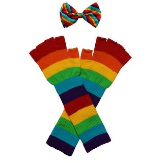 Rainbow Costume Bow Tie And Long Gloves - One size
