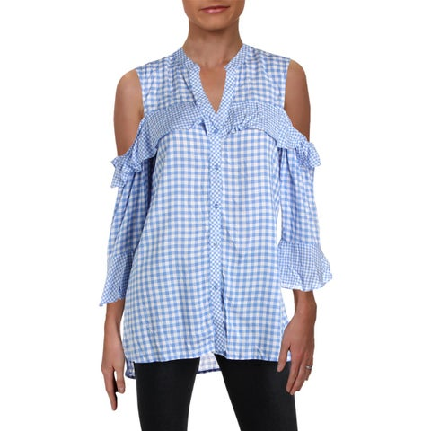 NY Collection Womens Button-Down Top Gingham Cold Shoulder - M