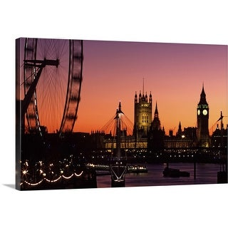 """""""London skyline at sunset with the London Eye, Hungerford Foot Bridge and Parliament"""" Canvas Wall Art"""