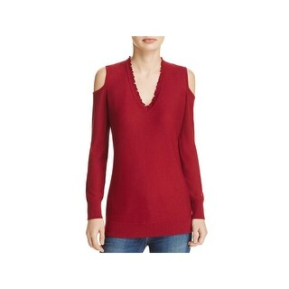 Love Scarlett Womens Pullover Sweater Ribbed Trim V-Neck
