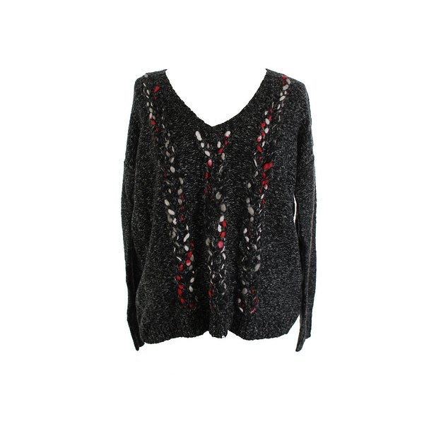 Kensie Grey Long-Sleeve V-Neck Open-Knit Sweater M