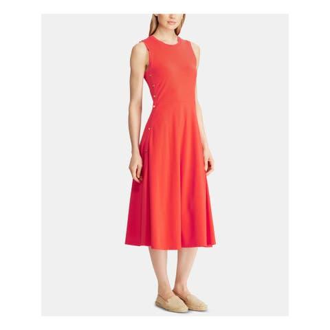 RALPH LAUREN Womens Red Sleeveless Midi Fit + Flare Dress Size XL