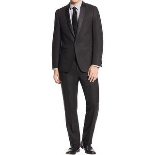 Calvin Klein Mens One-Button Suit Shadow Grid 2PC