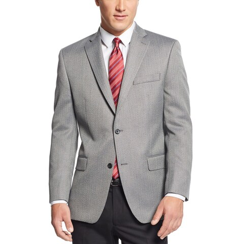 Michael Kors Mens Black and White Herringbone Classic-Fit Sportcoat 44R Jacket