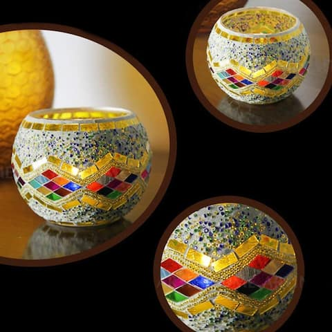 Mosaic Glass Multi-Color Diamond Candle Holder