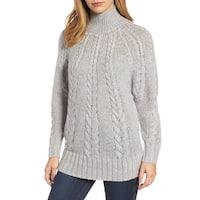 Caslon Gray Womens Size Medium M Cable-Knit Turtleneck Sweater