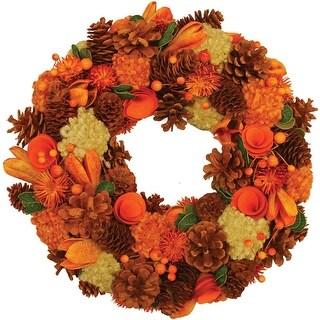 "13"" Autumn Harvest Hydrangea and Berry Artificial Floral Wreath - Unlit"
