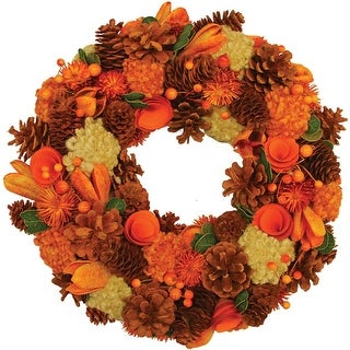 "13"" Autumn Harvest Hydrangea and Berry Artificial Floral Wreath - Unlit"