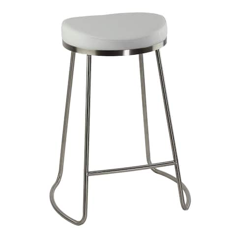 Cortesi Home Bianco Backless Counter Height Stools in Brushed Stainless Steel, Set of 2, White