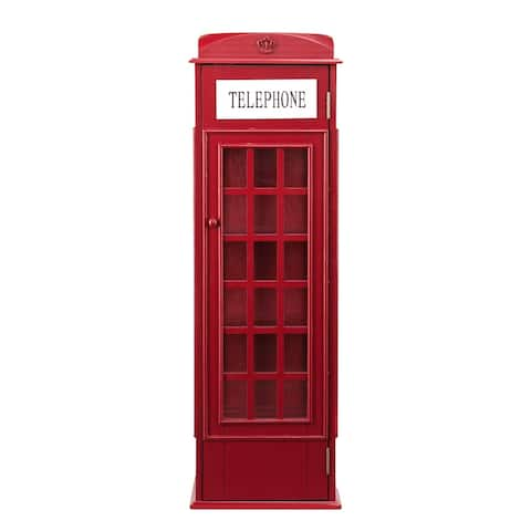 """44.75"""" Red and White Contemporary Phone Booth Storage Cabinet"""
