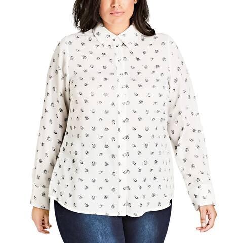 City Chic Women's White Size 14W Plus Ladybug Print Button Down Shirt