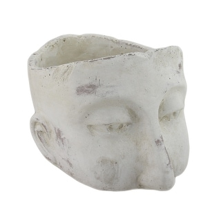 Weathered Finish Sculptural Cement Head Planter - 6 X 9.5 X 7.75 inches