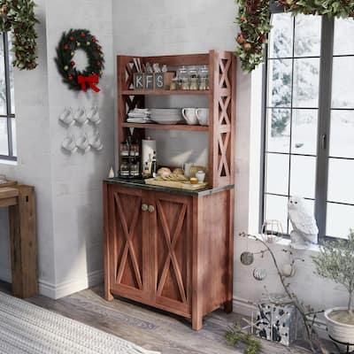 Furniture of America Yeer Rustic Walnut Kitchen Storage Hutch