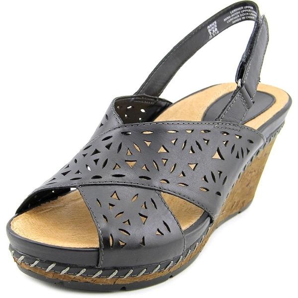 Earth Aries Women Open Toe Leather Black Wedge Sandal