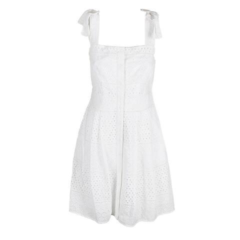 Rachel Rachel Roy Ivory Sleeveless Cotton Eyelet Snap Front Fit & Flare Dress 0