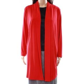 Calvin Klein NEW Red Women's Size Medium M Open-Front Long Cardigan