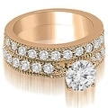 2.45 cttw. 14K Rose Gold Antique Milgrain Round Diamond Bridal Set - Thumbnail 0