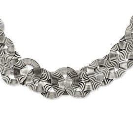 Stainless Steel Multiple Cirlces 19in Necklace (20 mm) - 19 in