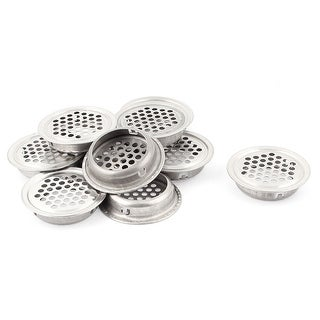 10pcs Stainless Steel Round Mesh Hole Air Vent Louver Silver Tone