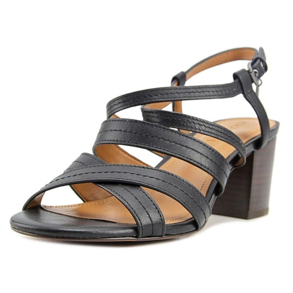 Coach Terri Women Open Toe Leather Black Sandals