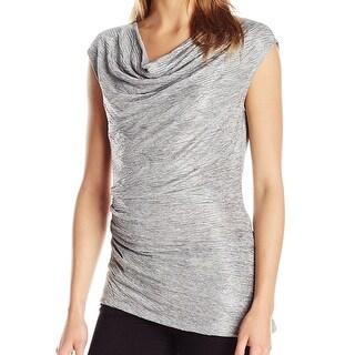 Calvin Klein NEW Silver Ruched Cowl-Neck Womens Size XL Metallic Blouse