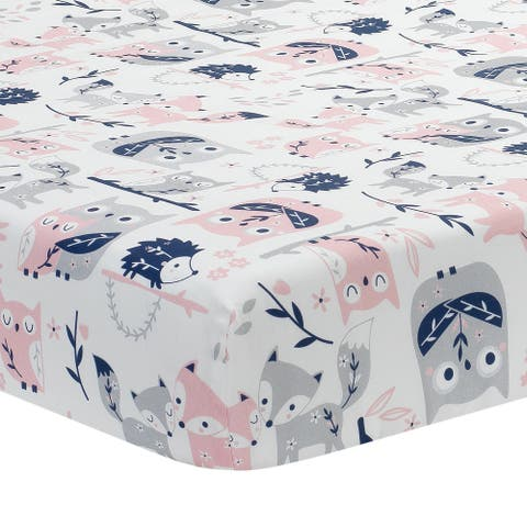 Lambs & Ivy Forever Friends White/Pink/Gray Woodland Owl/Fox Baby Fitted Crib Sheet