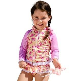 Sun Emporium Baby Girls Yellow Pink Cherry Blossom Zip Jacket Nappy Set