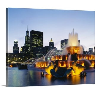 Premium Thick-Wrap Canvas entitled Fountain in a city lit up at night, Buckingham Fountain, Chicago, Illinois