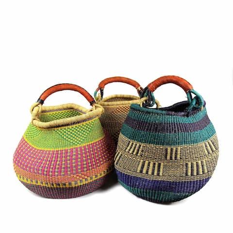Handmade Pot Design Market Baskets, Color Variety or Natural