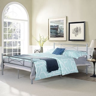 Easy Set-up Full Metal Bed Frame Bedroom Furniture with headboard Silver