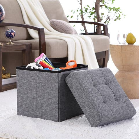 """Foldable Tufted Linen Storage Ottoman Square Cube Foot Rest Stool/Seat - 15"""" x 15"""" x 15"""""""