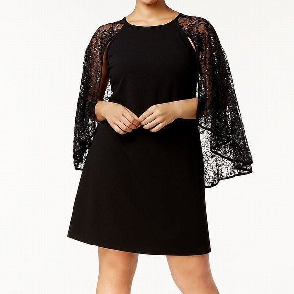 Calvin Klein Black Womens Size 14W Plus Lace Capelet Sheath Dress