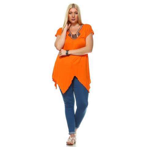 Plus Size Grace Embellished Top - Orange