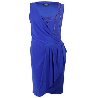 Onyx Nite Women's Scoop Neck Beaded Draped Jersey Dress - ROYAL