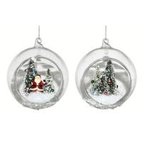 """Pack of 6 Snowy Santa and Trees Scenic Christmas Ball Ornaments 5"""""""