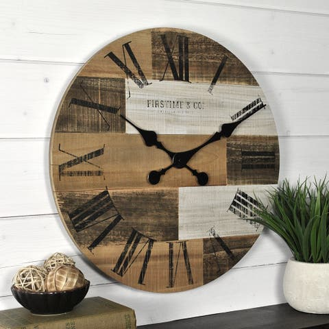FirsTime & Co. Farmhouse Pallets Wall Clock, American Crafted, Dark Brown, Fir Wood, 18 x 2 x 18 in