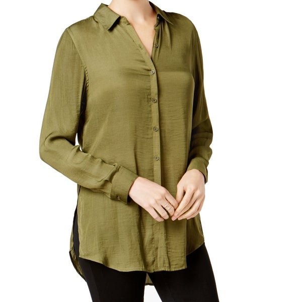 1e19f480 Shop Olivia & Grace Green Womens Size Large L Satin Button Down Shirt - On  Sale - Free Shipping On Orders Over $45 - Overstock - 27408917