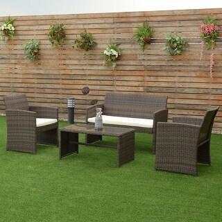 Furniture Deck. Costway 4 Pcs Outdoor Patio Rattan Wicker Furniture Set  Table Sofa Cushioned Garden