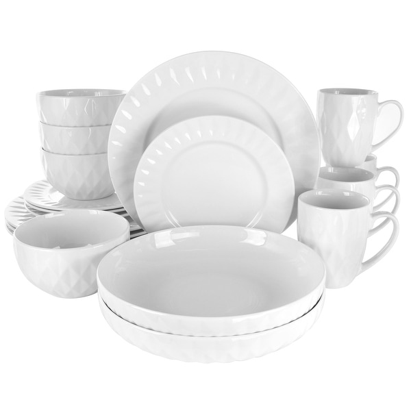 Elama Sienna 18 Piece Stoneware Dinnerware Set in White. Opens flyout.