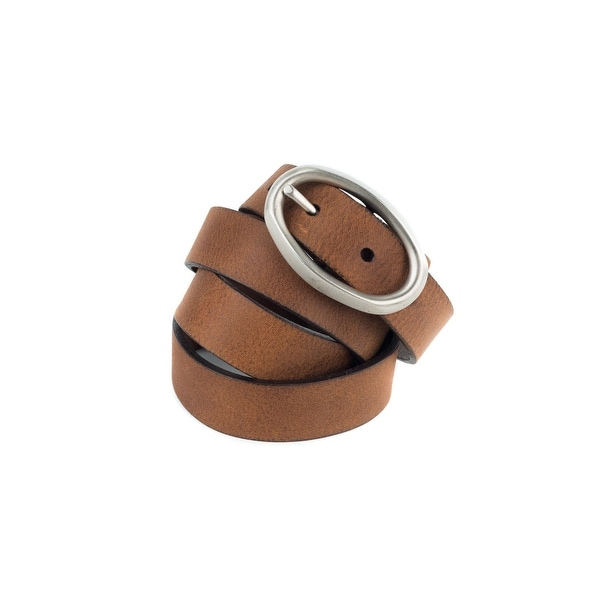 Brunello Cucinelli Womens Cognac Brown Suede Silver Buckle Belt