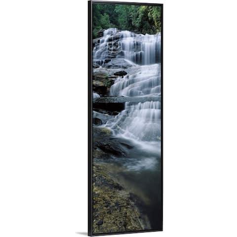 """Waterfall in a forest, Glen Falls, Nantahala National Forest, North Carolina"" Black Float Frame Canvas Art"