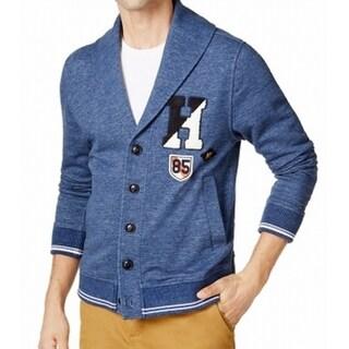 Tommy Hilfiger Blue Men Large L Shawl Collar Button-Front Sweter
