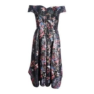 Aidan Mattox Women's Off-The-Shoulder Jacquard Short Dress - Black Multi